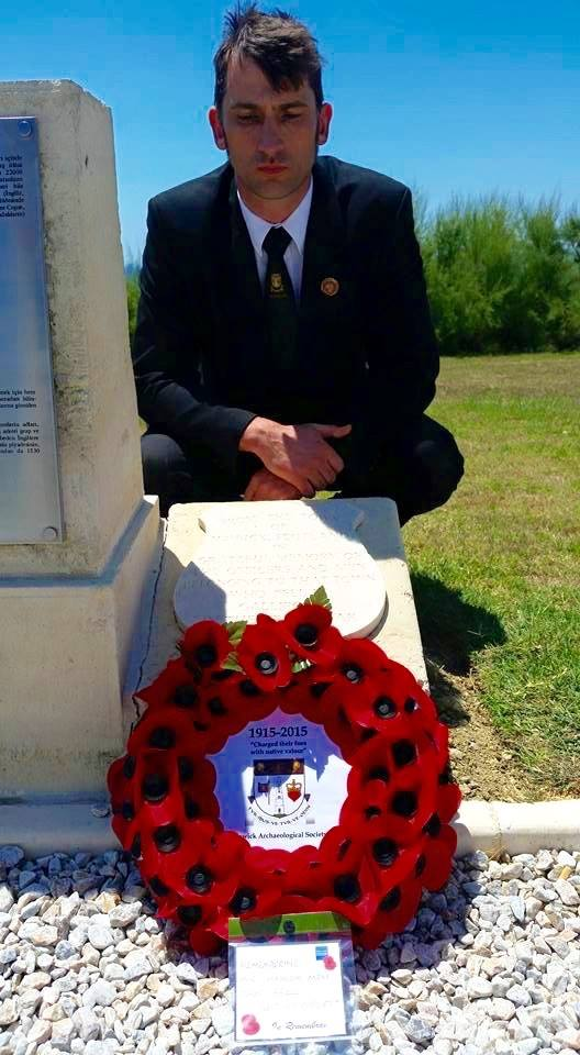 President Iain H Scott with our wreath at the Hawick stone commemorating the loss of so many KOSB soldiers. This remains the only commemoration for a specific town at the Cape Helles Memorial, Gallipoli, Turkey.