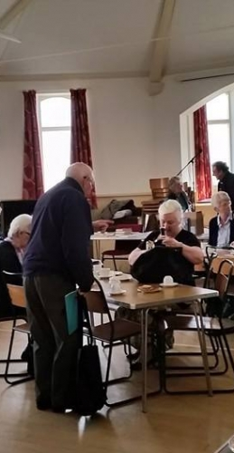 It is all go here at our Coffee Morning! Here until 12 noon at the Congregational Church.